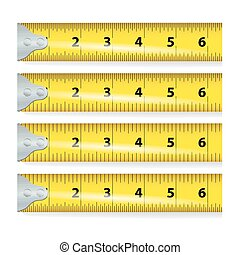 Yellow Measure Tape Vector. Centimeter And Inch. Measure...