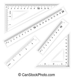 Ruler And Triangles Vector. Centimeter And Inch. Simple...