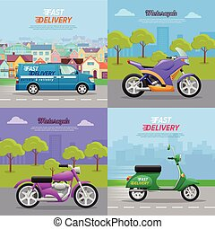 Set of Vehicle Icons. Fast Delivery. Motorcycle