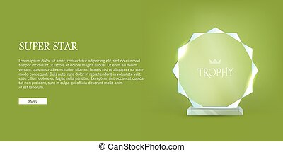My Best Trophy. Round Glass Award with Cutters