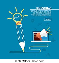 Pencil Blogging - Pencil write on blue background, Creative...