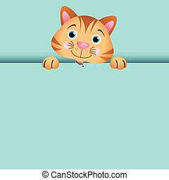 Curious cat peeking out - Scalable vectorial image...