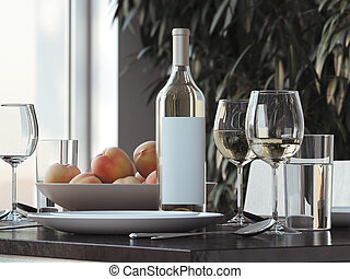 Table setting with white wine . 3d rendering - Table setting...