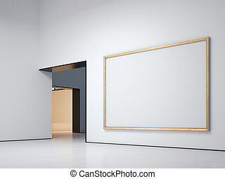 White gallery with golden frame. 3d rendering