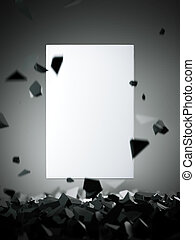White blank canvas with flying stones. 3d rendering