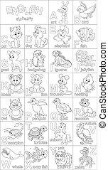 English alphabet for coloring - Black and white vector...
