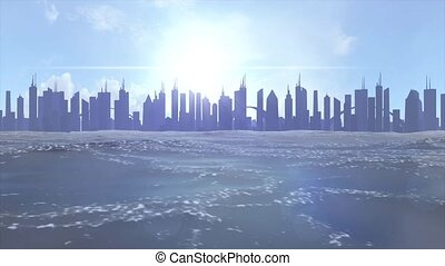 Cityscape skyline ocean rising sea level silhouette skyscraper future climate