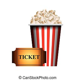 cinema and movie design - pop corn and movie ticket over...