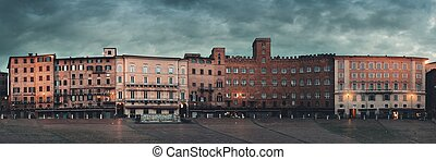Piazza del Campo Siena Italy panorama - Old buildings in...