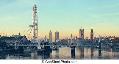 Thames River Panorama - Thames River panorama with London...