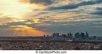 Paris Rooftop - Paris city skyline rooftop view with la...
