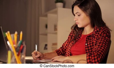 student girl with laptop and notebook at home - people,...