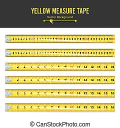 Yellow Measure Tape Vector. Measure Tool Equipment In...