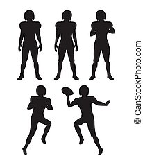 Collection of Silhouettes. Football Players Set -...