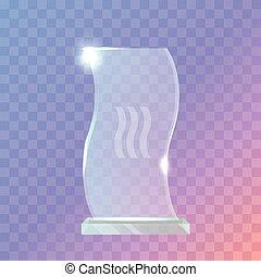 My Best Trophy. Crystalic Award in Waved Shape - Trophy....