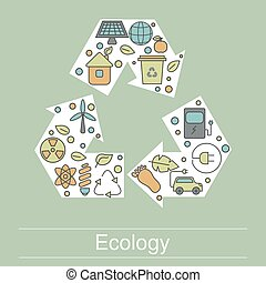 Ecology illustration with eco icons
