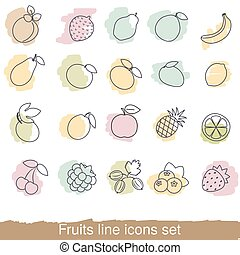 Fruits and berries line icon set