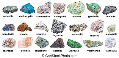collection of various minerals with descriptions -...