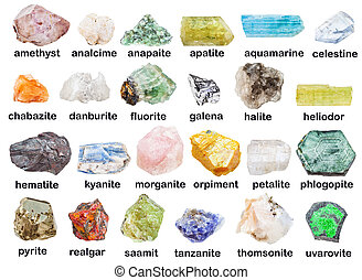 collection of raw minerals with descriptions - geological...