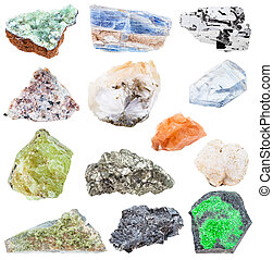 collection of various raw mineral crystals - uvarovite,...