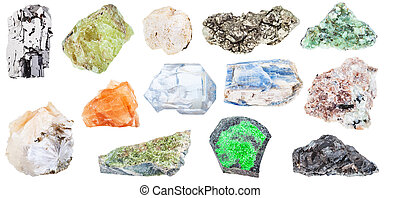 collection of various natural mineral crystals - galena,...