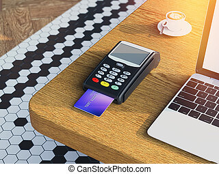 POS Credit card machine on wooden table. 3d rendering - POS...