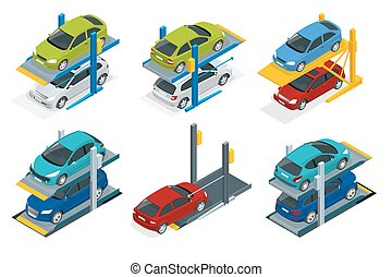 Isometric Hydraulic lifts for the car in the underground...