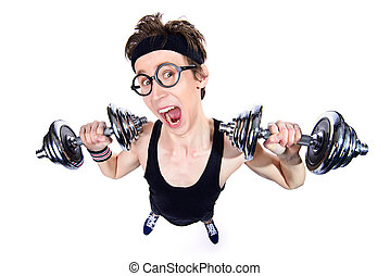 guy with dumbbells - Funny thin man doing exercises with...
