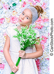 eight-year old girl - Cute smiling girl in beautiful white...