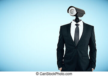 Supervision concept - CCTV headed man on blue background....