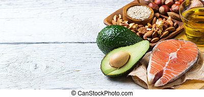 Selection of healthy fat sources food, life concept -...