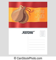 Spanish castanets vector postcard template. Double sided...
