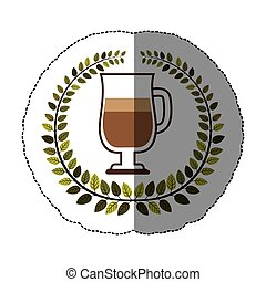 emblem macchiato coffee icon design, vector illustration...