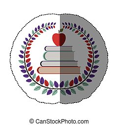 emblem books with red apple icon