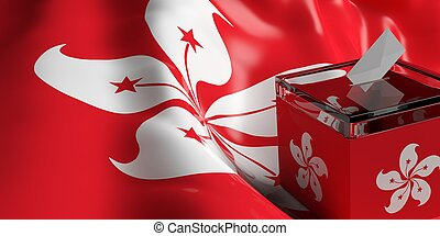 Ballot box on Hong Kong flag background, 3d illustration