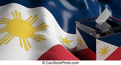 Ballot box on Philippines flag background, 3d illustration -...