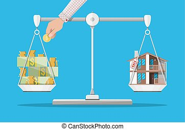 Scales with house and money. Real estate - Scales with house...