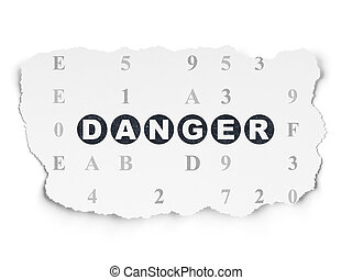 Security concept: Danger on Torn Paper background - Security...