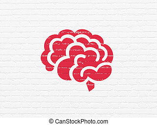 Healthcare concept: Brain on wall background - Healthcare...