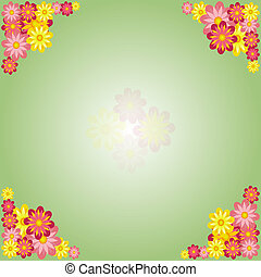Spring green background with flowers