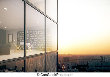Office exterior/interior at sunset - Creative glass building...