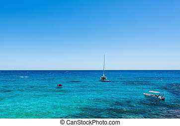 Photo of sea in protaras, cyprus island with boats and...