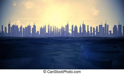 Cityscape skyline ocean rising sea level silhouette skyscraper future climate 4k