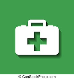 first aid design - first aid briefcase over green...