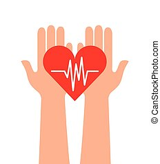 cardio heart icon - hands with cardio heart icon over white...