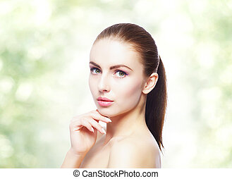 Portrait of young, beautiful and healthy woman: over...