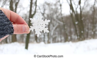 frosty creative concept, hand holding a snowflake on a...