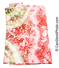 silk scarf with abstract pink and green pattern - folded...