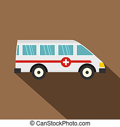 Ambulance car icon, flat style - Ambulance car icon. Flat...