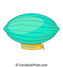 oval, icono, estilo, dirigible, caricatura